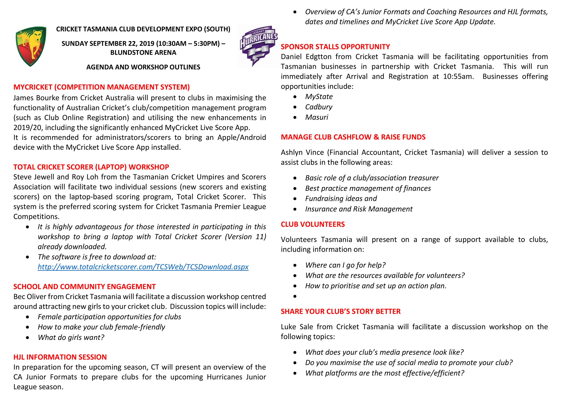 CT Club Development Expo 2019 - Southern Tasmania Survey