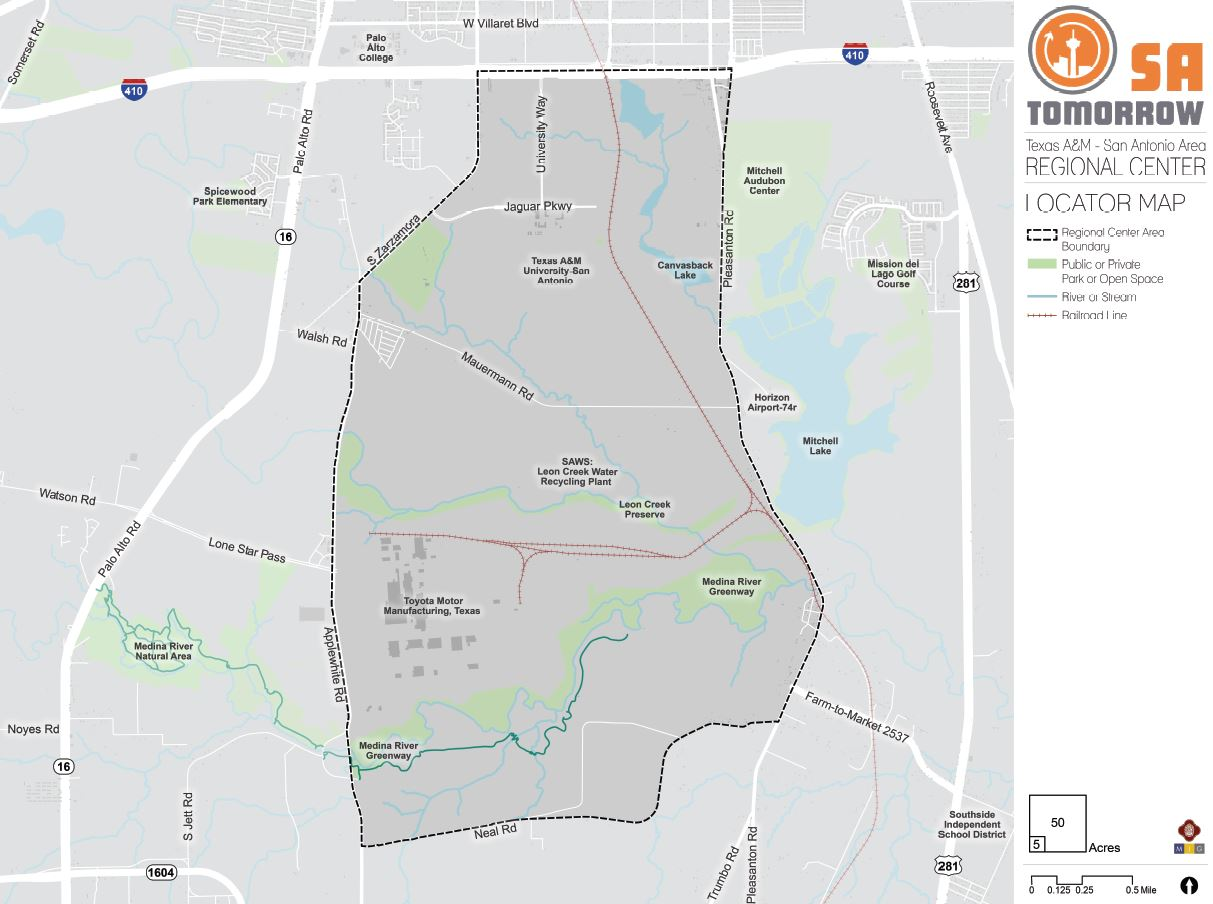 """<div style=""""text-align: center;""""><strong>Texas A&amp;MSan Antonio Area Regional Center Plan Area Map</strong></div>"""