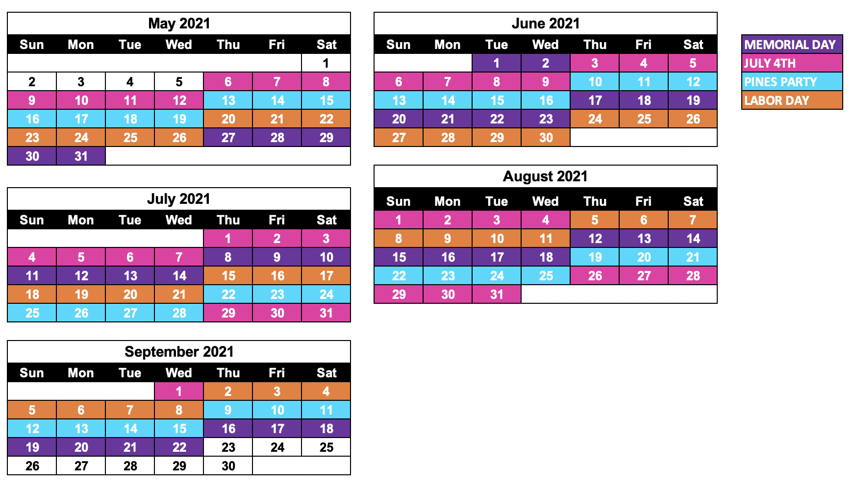 2021 SHARE CALENDAR DATES (subject to change)