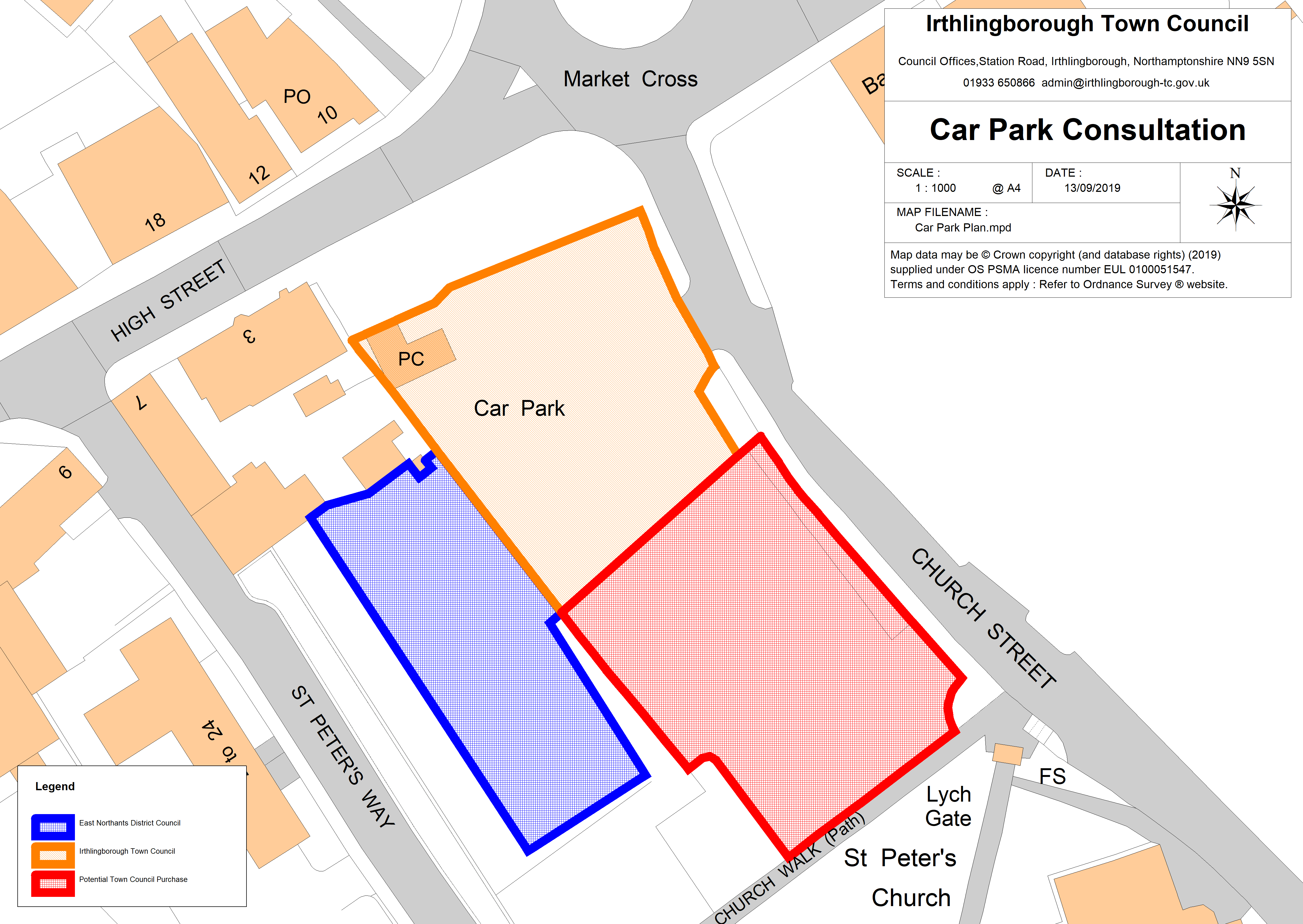 Irthlingborough Town Centre Car Park - map detailing current ownership