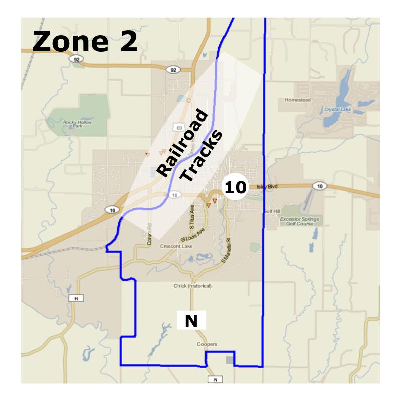 Zone 2, inside the blue border.