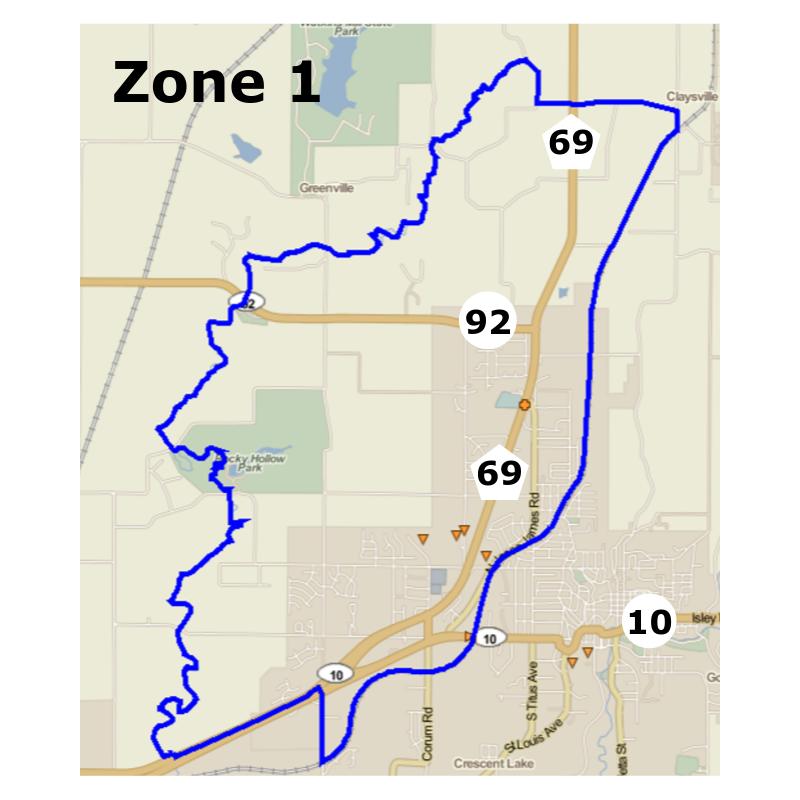 Zone 1, inside the blue border.