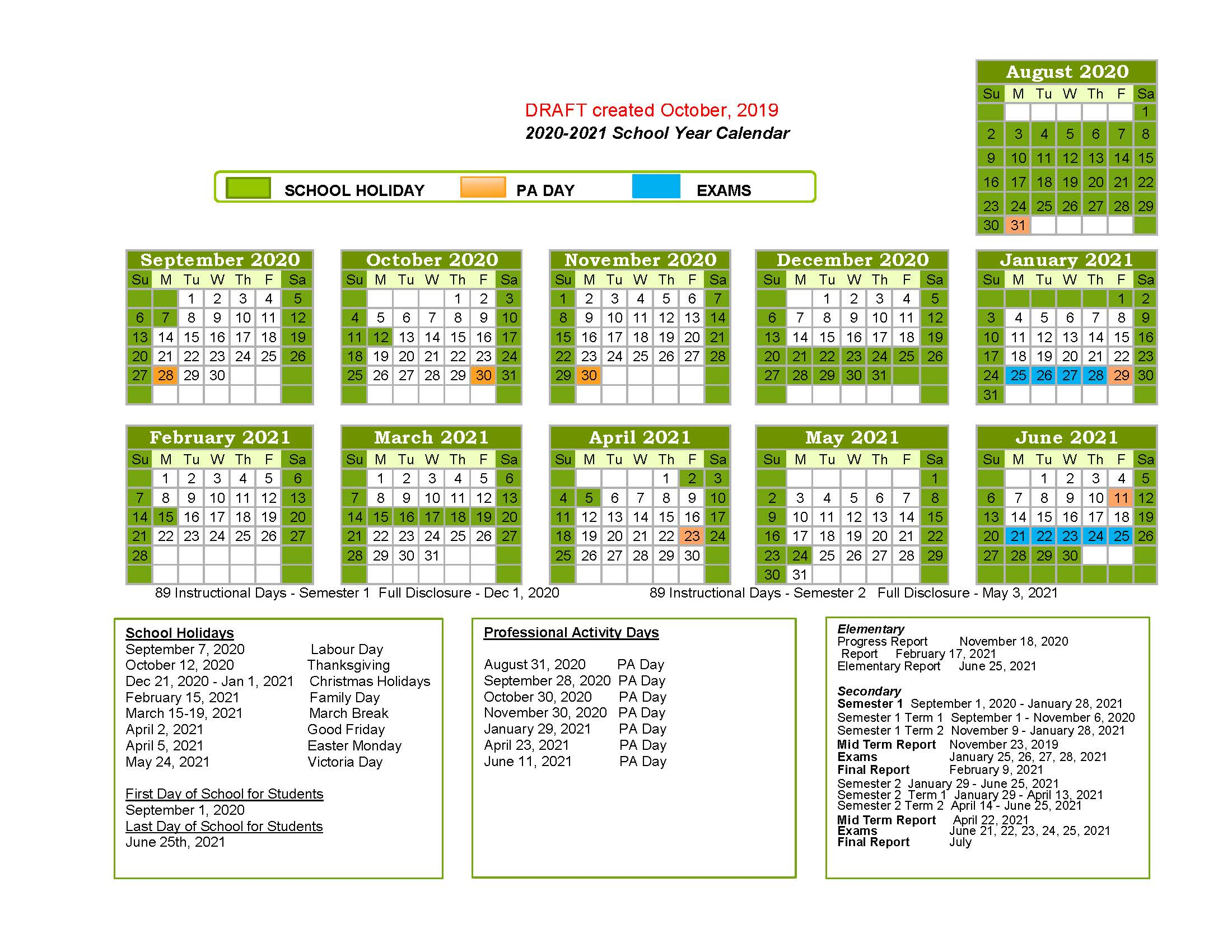 Calendrier Scolaire 2020 Et 2021.2020 2021 Proposed School Year Calendar Consultations