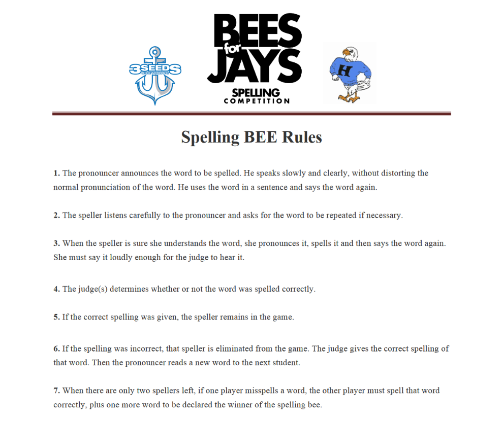 Bees For Jays Spelling Bee Rules