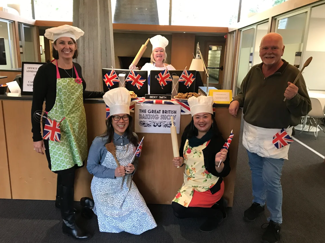 """6. """"The Great British Bake Off"""" by Law Admissions (Back row - Becky Smith; Front row (left to right) - Molly Taylor, Mimi Huang, Natasha Richmond, and Don Balsiger)"""