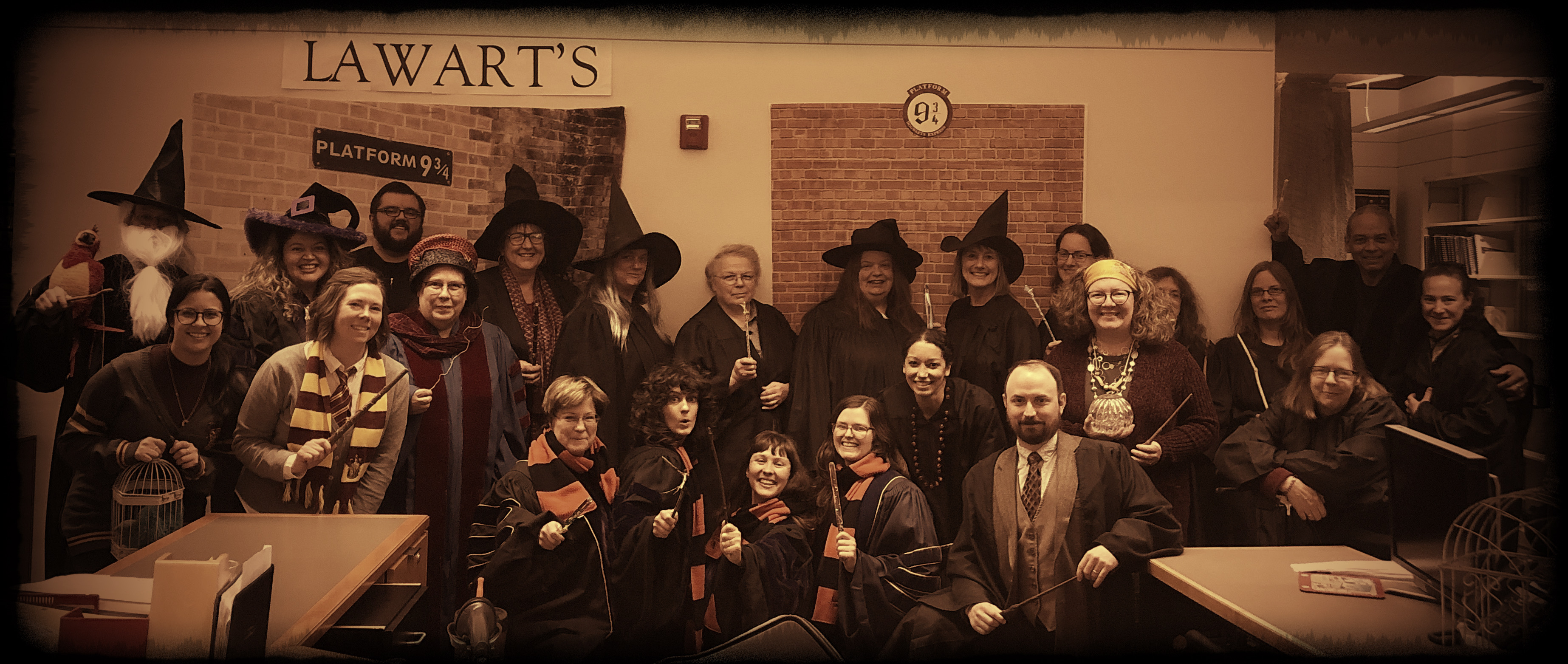 """20. """"Faculty and Students at Lawart's"""" by Boley Law Library, Business Services, Law Events, Law Faculty Services, Development, Alumni Office, Registrar's Office, and the Dean's Office."""