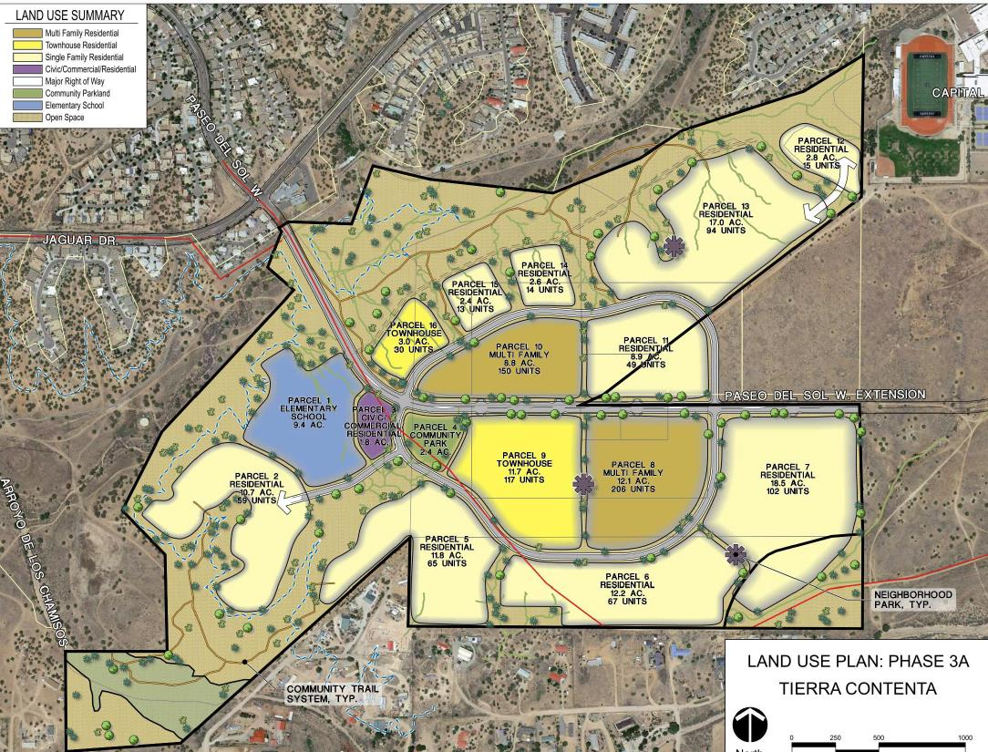 Below, see the proposed land use plan for Phase 3 of Tierra Contenta. This relates to the first two questions.