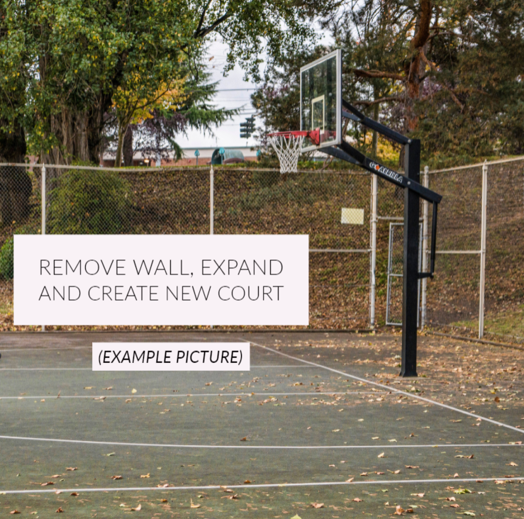 Example Picture - Remove wall and create a new larger half court.