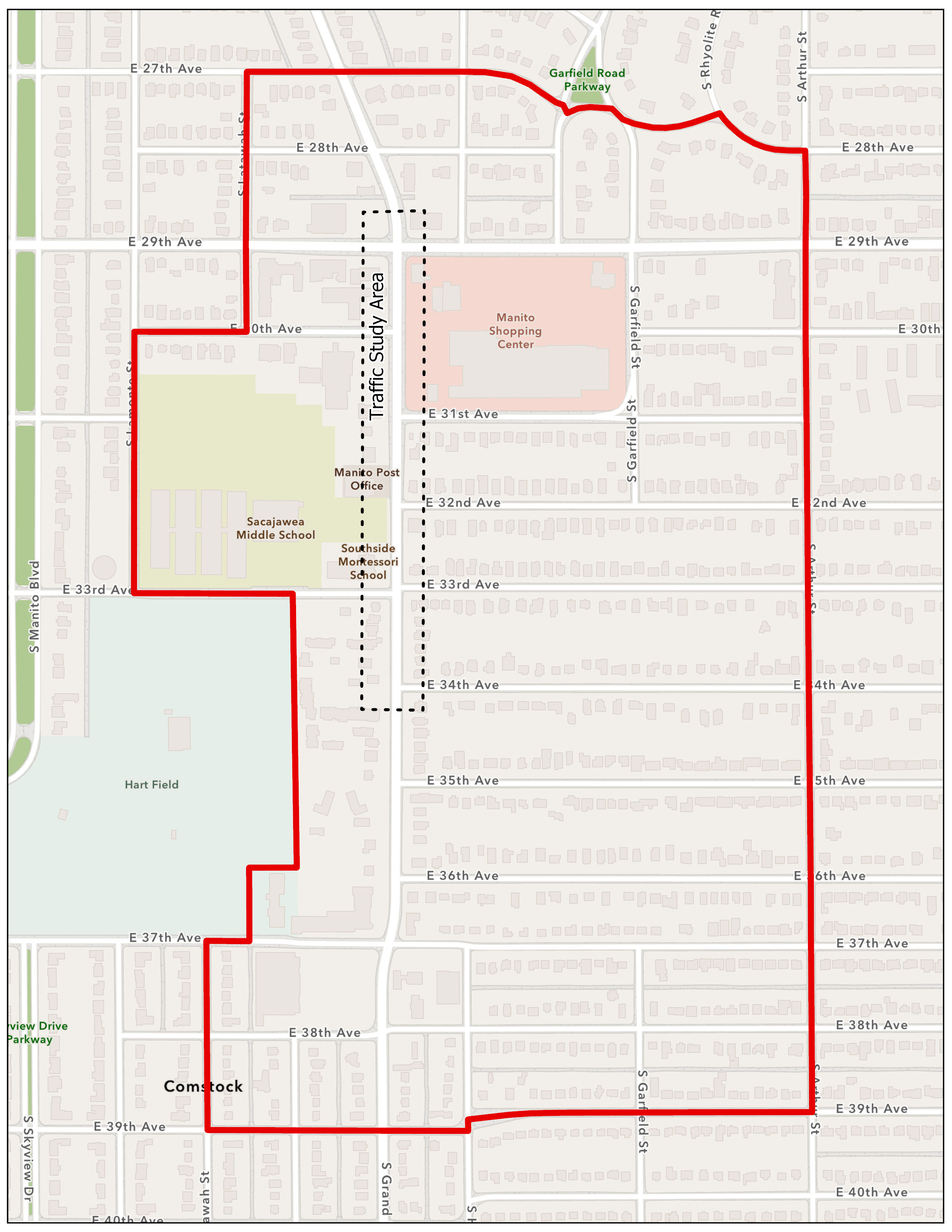 """Please refer to the Grand Boulevard Planning Area map as needed to answer questions. The <span style=""""text-decoration: underline;"""">traffic study</span>area focuses on Grand, from 29th to 34th Avenue, marked by the dashed line. The entire <span style=""""text-decoration: underline;"""">planning study area</span> for land use and zoning studies is 27th to 39th, Latawah to Arthur Street, outlined in red.<br><br><em>Please refer to the Grand Boulevard Planning Area 27th to 39th, Latawah to Arthur Street, outlined in red for questions 1 – 5.</em>"""