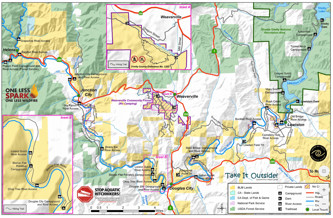 Figure 1 for question 5: Common river access points between Trinity Dam and Pigeon Point Campground (Map from the Bureau of Land Management).