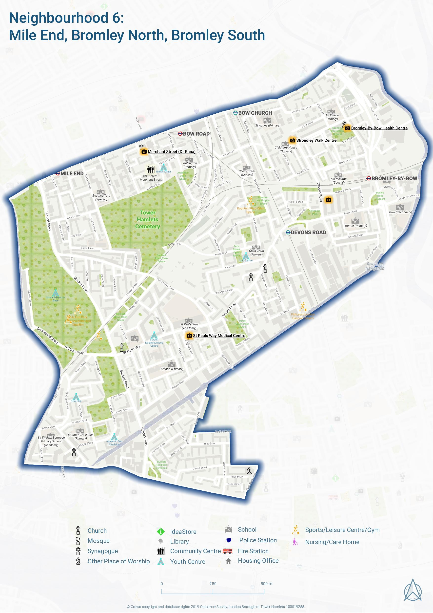 Mile End, Bromley N, Bromley S