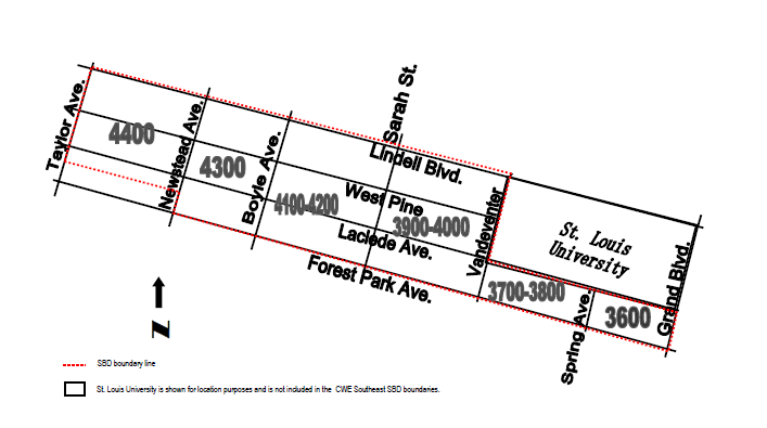 Central West End Southeast Special Business District Boundaries