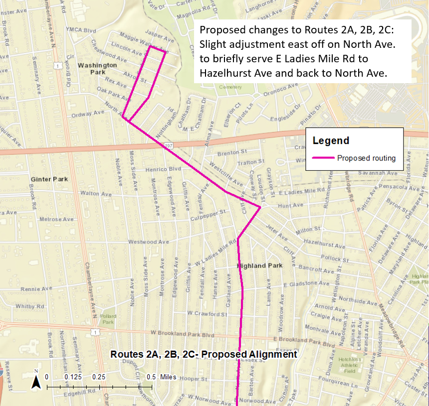 Routes 2A, 2B, 2C: Proposed Routing