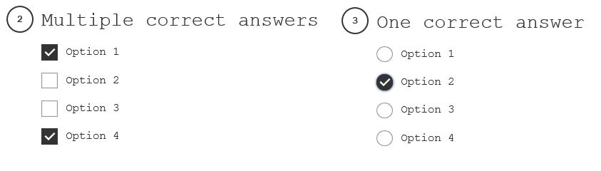 Example answering options: