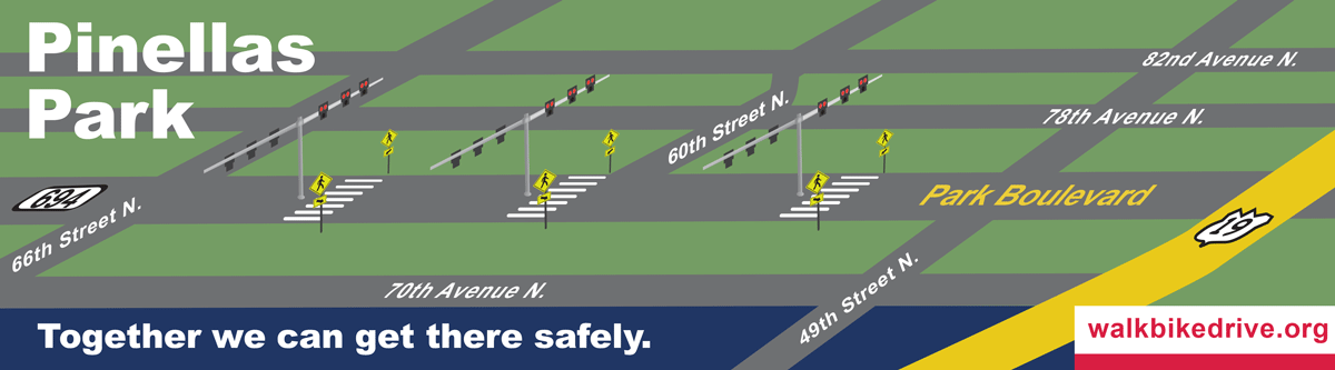 The three crosswalks with Pedestrian Hybrid Beacons are located along Park Boulevard (SR694) in Pinellas Park at 64/63rd Street, 60th Way/Street and 56/55th Way.
