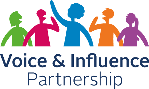The Voice and Influence Partnership logo with illustrations of colorful silhouettes of people having a conversation