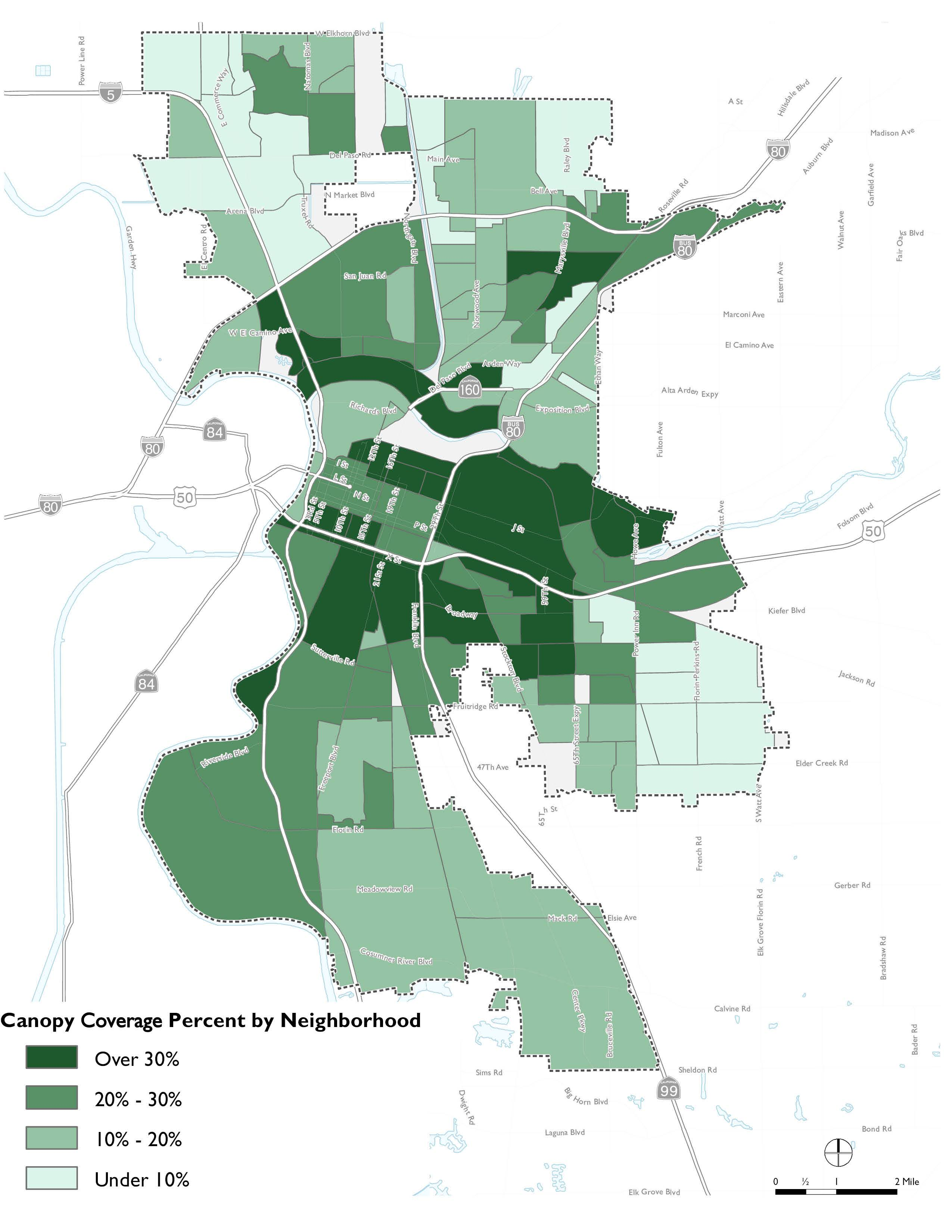 Map of Existing Tree Canopy Coverage in Sacramento