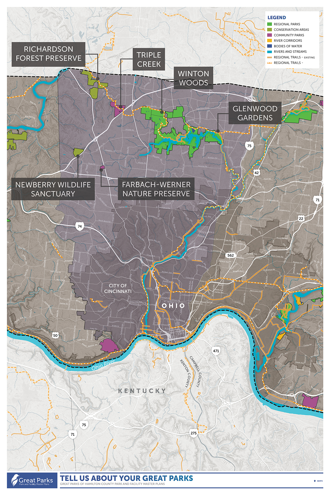 """The Central Region, shown below, includes the following parks: Richardson Forest Preserve, Triple Creek, Winton Woods, Glenwood Gardens, Newberry Wildlife Sanctuary, and Farbach-Werner Nature Preserve. You can open the map in a new browser tab by <span style=""""color: #ffff00;""""><a href=""""https://documentcloud.adobe.com/link/track?uri=urn:aaid:scds:US:071f58a8-4ec0-4096-a0a4-f0025f9fa247"""" rel=""""nofollow"""" style=""""color: #ffff00;"""" target=""""_blank"""">clicking here</a></span>."""