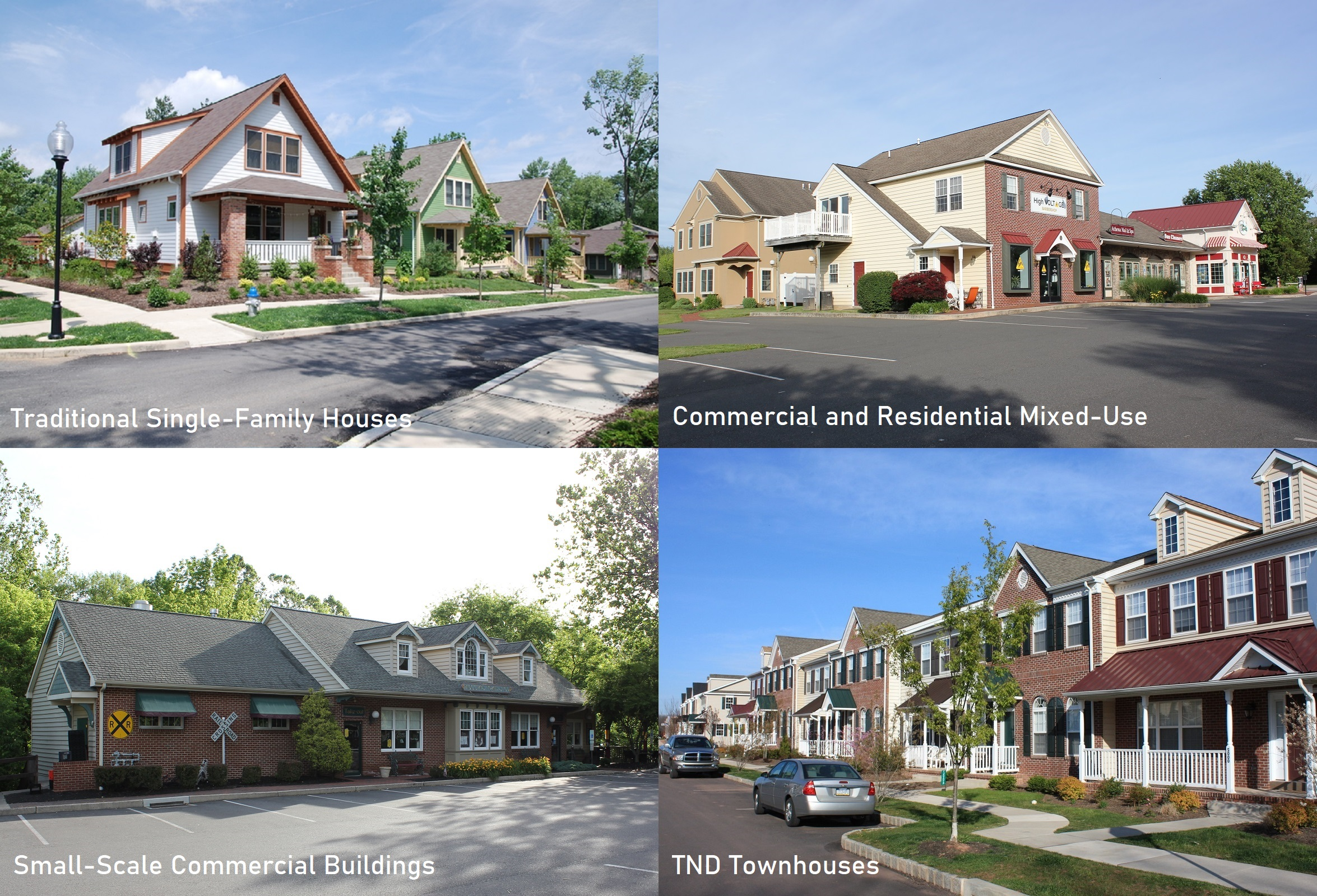 Traditional Neighborhood Development can include residential and commercial buildings of manytypes and sizes. The photos below show a few examples of common building types in the Traditional Neighborhood Development style .