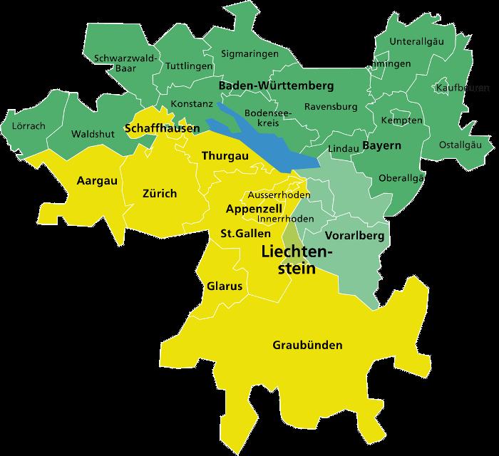 Das Programmgebiet Interreg Alpenrhein-Bodensee-Hochrhein