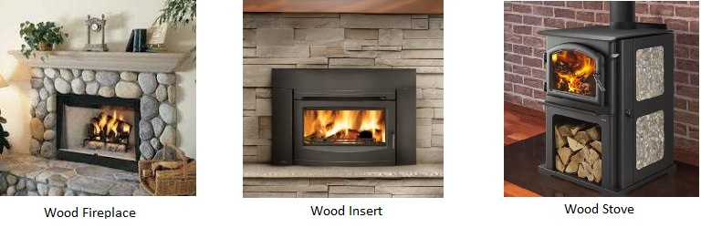 Below are examples of a wood stove, wood insert, and a wood fireplace (collectively known through this survey as wood heaters).