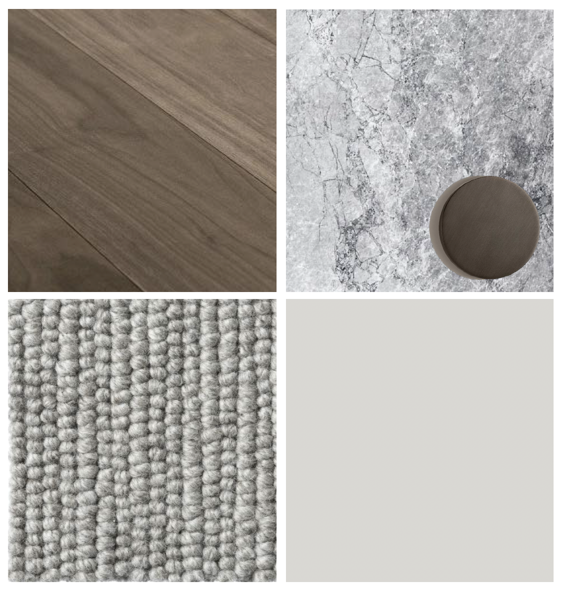 Light/grey benchtops, tiles & flooring, dark timber floorboards, light grey joinery, grey carpet