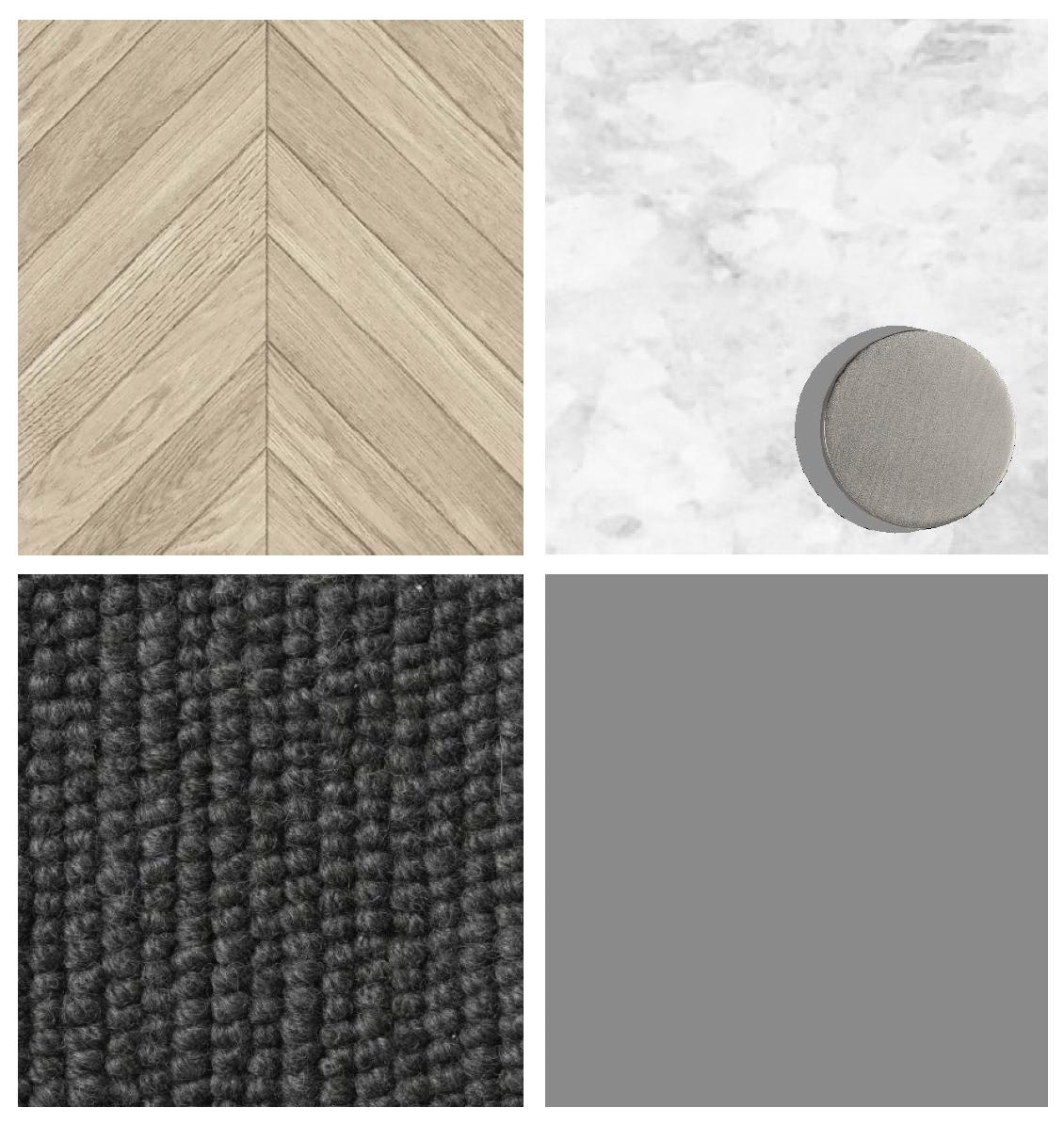 Light/white benchtops, tiles & flooring, light timber floorboards, medium grey joinery, dark carpet