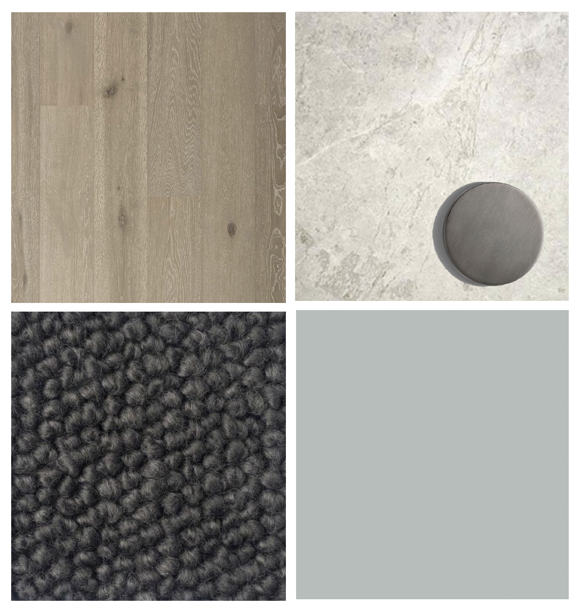 Natural benchtops, tiles & flooring, medium timber floorboards, dark joinery, dark carpet