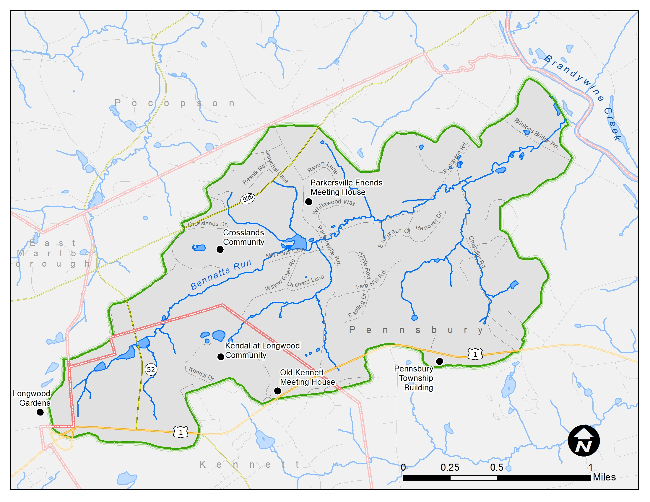 <strong>Bennett's Run Watershed.</strong> <br><br>A watershed isan area of land that captures rain or snowmelt and channels this water into a common stream, river, marsh or lake.