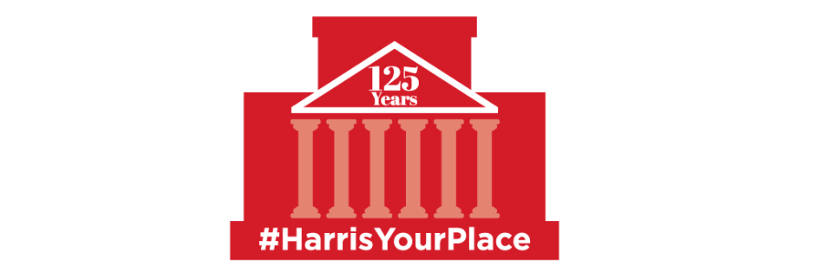 #HarrisYourPlace logo - red outline of the Harris