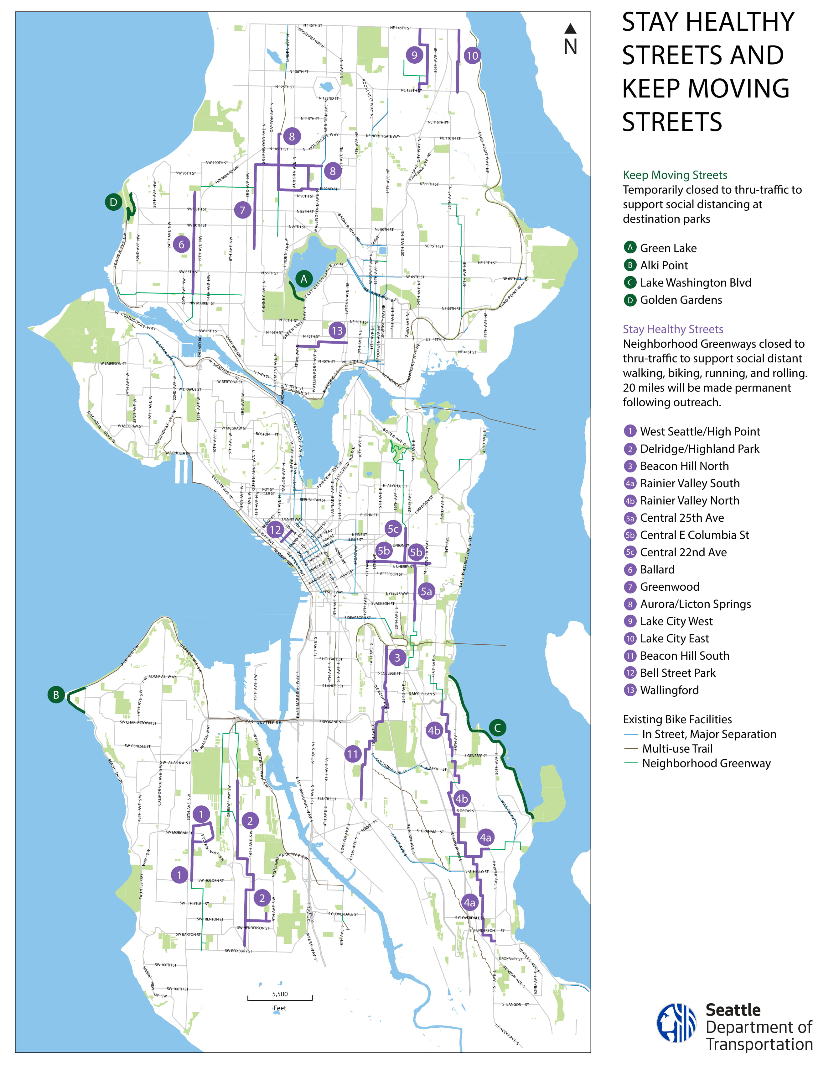 Map of Stay Healthy and Keep Moving Streets in Seattle (with labels)