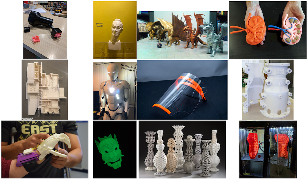 Here are some projects created on a 3D printer.