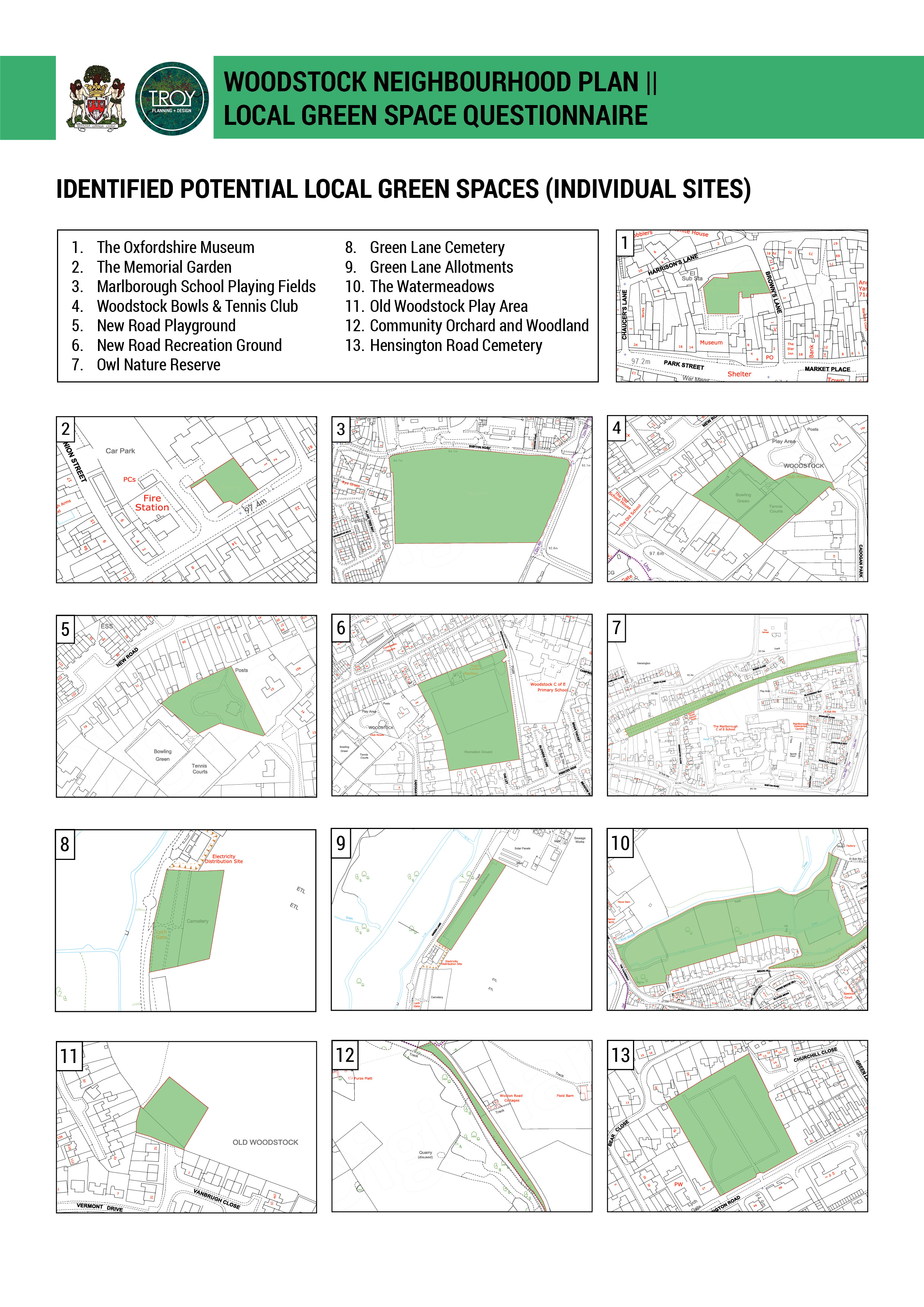 Identified Potential Local Green Spaces (Individual Sites)
