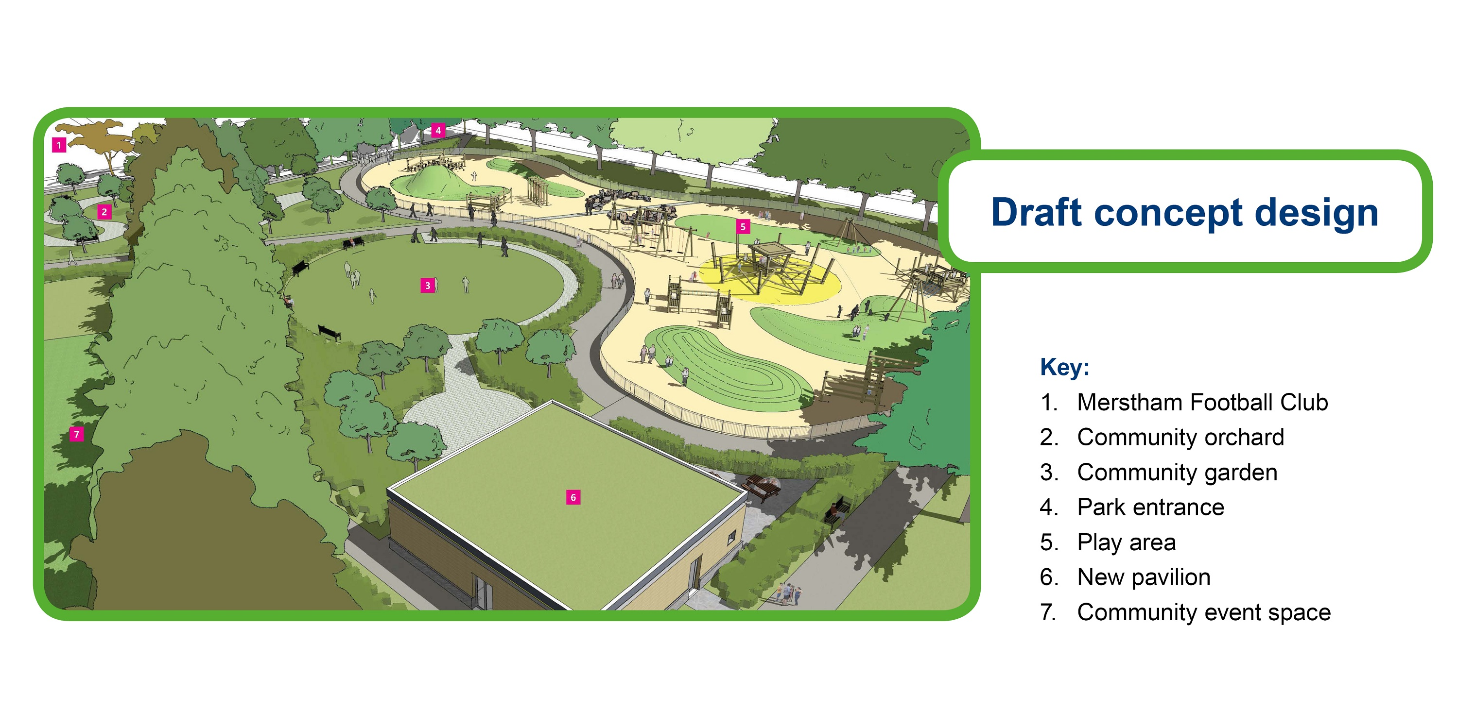 Map showing draft design showing the layout of park