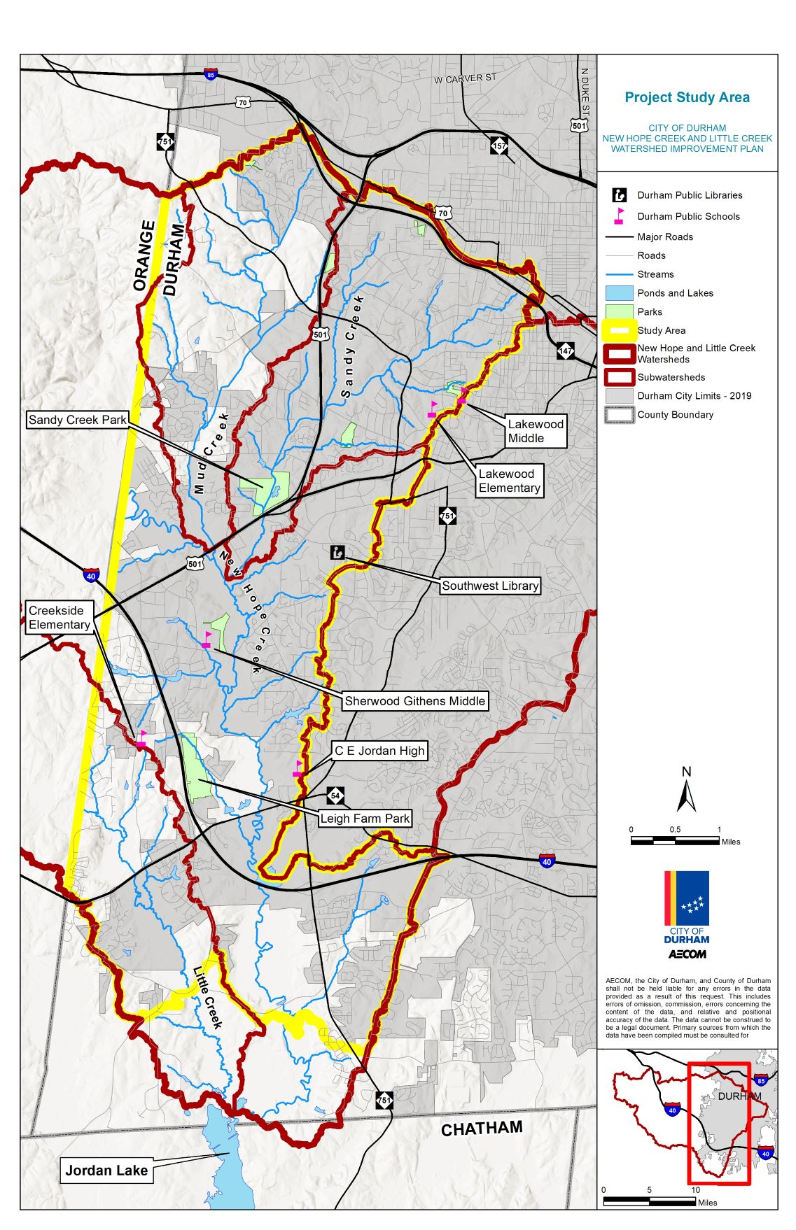 Map showing New Hope Creek, Sandy Creek, and Little Creek watersheds