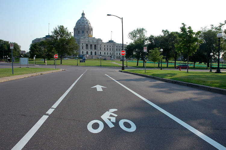 Bike path near capitol in St. Paul, Minnesota