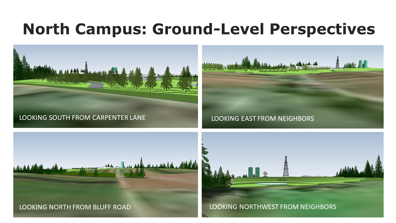 Four visual renderings of the facility site shown from ground-level and labeled as views from each cardinal direction.