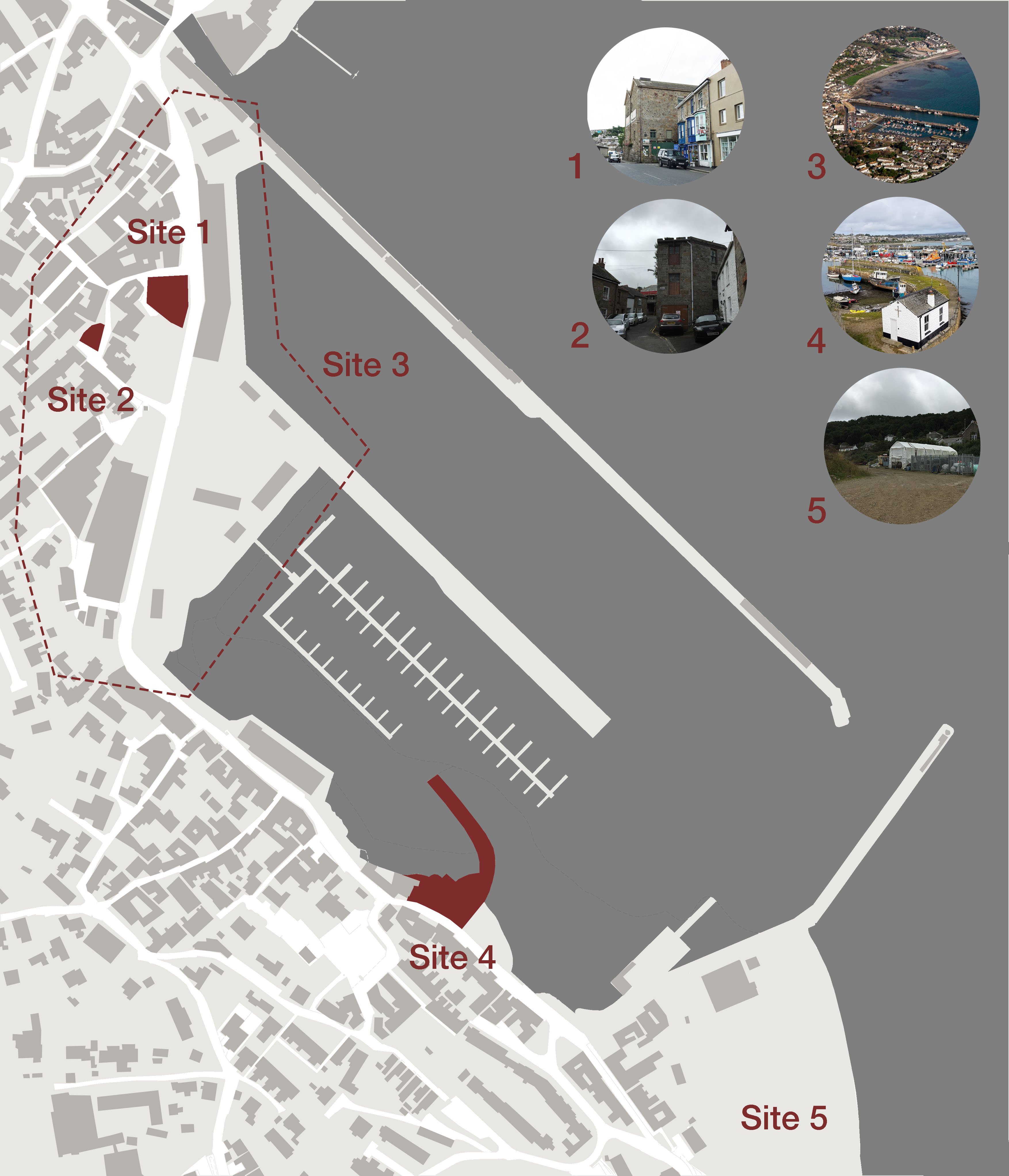 Site plan of Newlyn with the 5 sites highlighted. Images associated with each of the sites appear alongside.