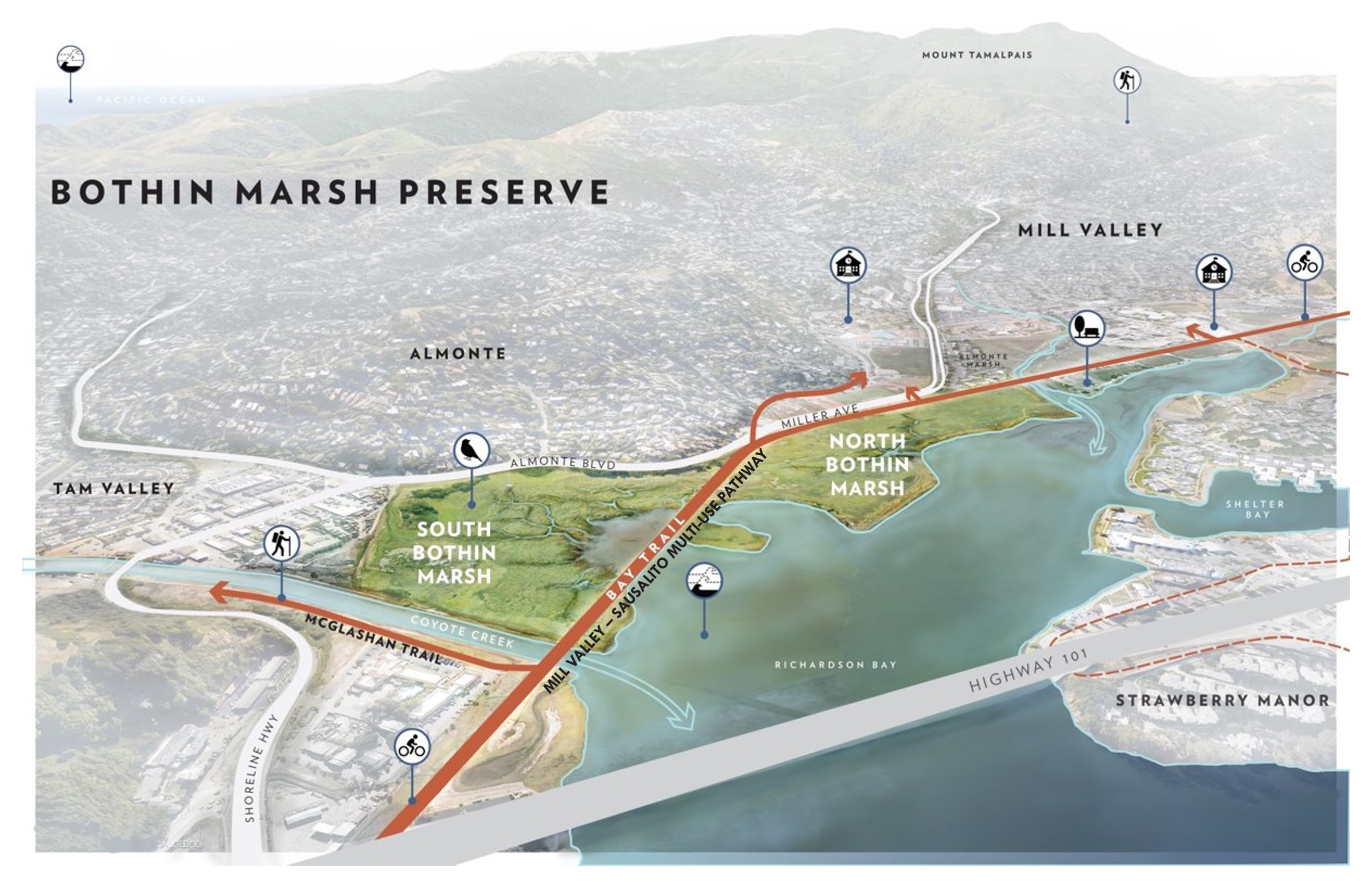 <em>The map below shows the Bothin Marsh and the Mill Valley-Sausalito Multi-Use Pathway segment of the Bay Trail, which are the focus of the Evolving Shorelines Project.</em>