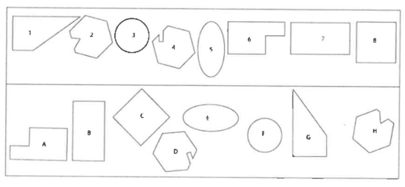 <strong>Using the illustration please identify what numbered shape in the top row is the same as</strong><br><strong>the shape with a letter in the bottom row.</strong>