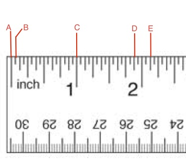 <strong>Use the image below to identify the marks on this Imperial Ruler for questions 10 and 11</strong>