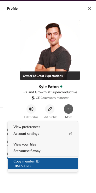 How to find yourhttp://greatexpectations.io/slack Slack ID after clicking on your name and viewing your profile.