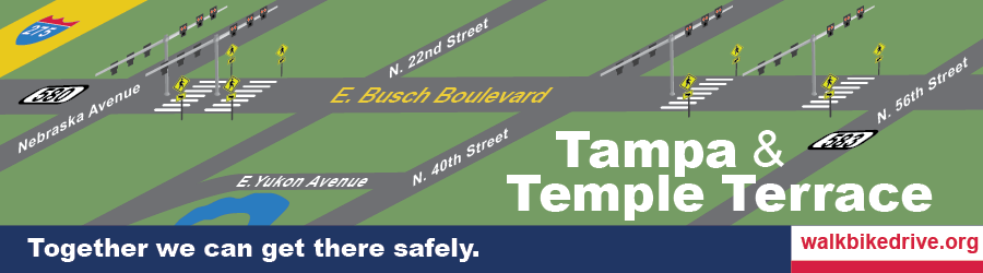 The four crosswalks with Pedestrian Hybrid Beacons are located along Busch Boulevard (SR) in Tampa Florida at 12th Street, Brooks Street, Pawnee Avenue, and Overlook Drive.