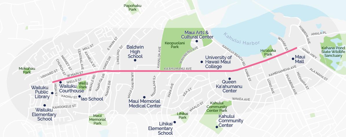 Ka'ahumanu Avenue and Community Destinations