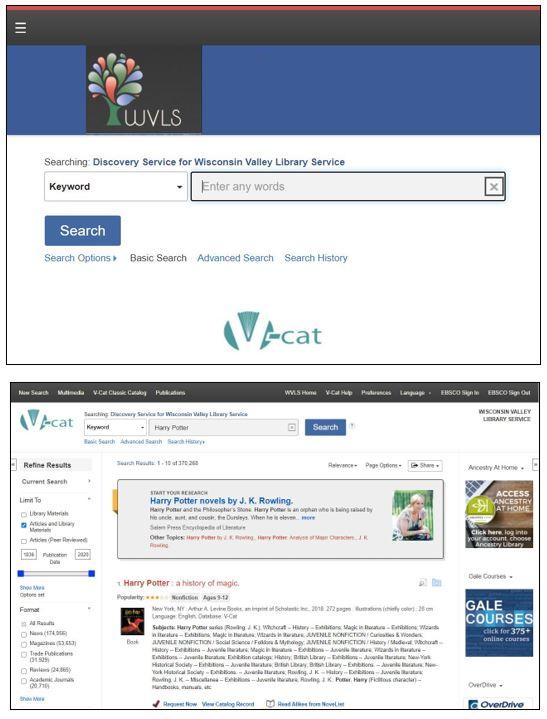 V-Cat Discovery Catalog