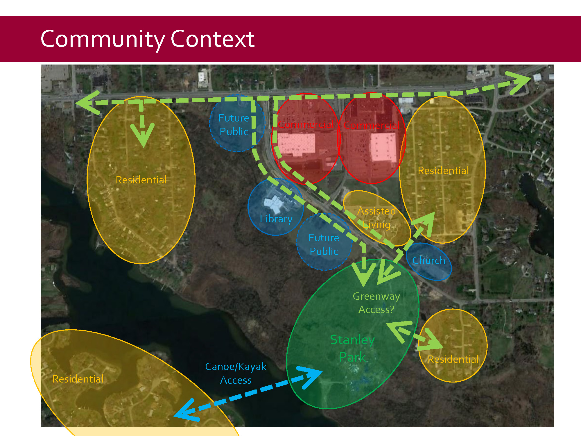 Stanley Park Community Context<br><br>Stanley Park has the potential to be connected to adjacent township property, the library, and nearby neighborhoods via future pathways.
