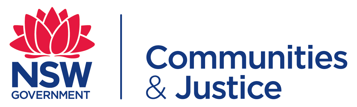 Communities and Justice logo. Has a red waratah fl
