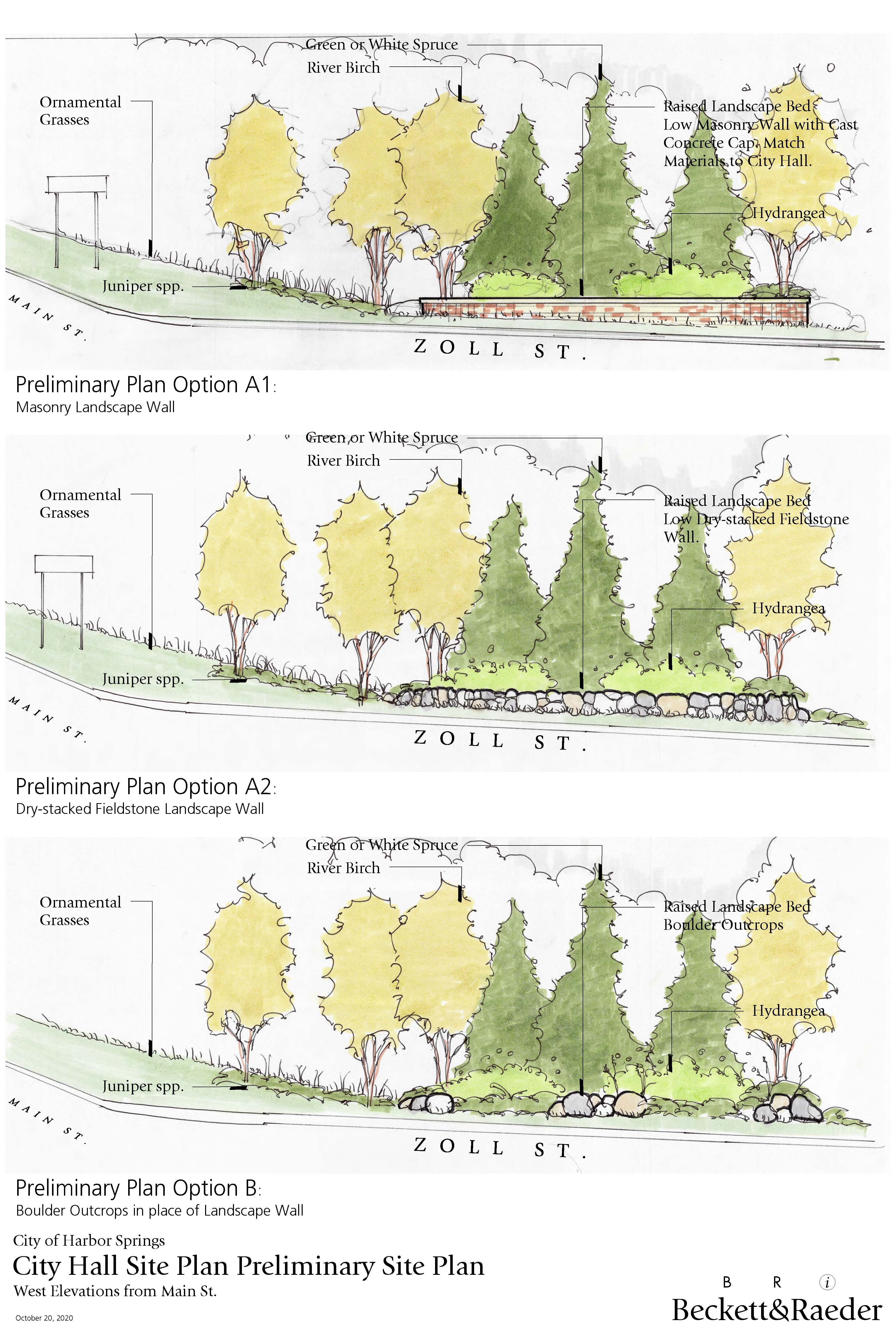 City Hall Site Plan Elevations for Option A and Option B