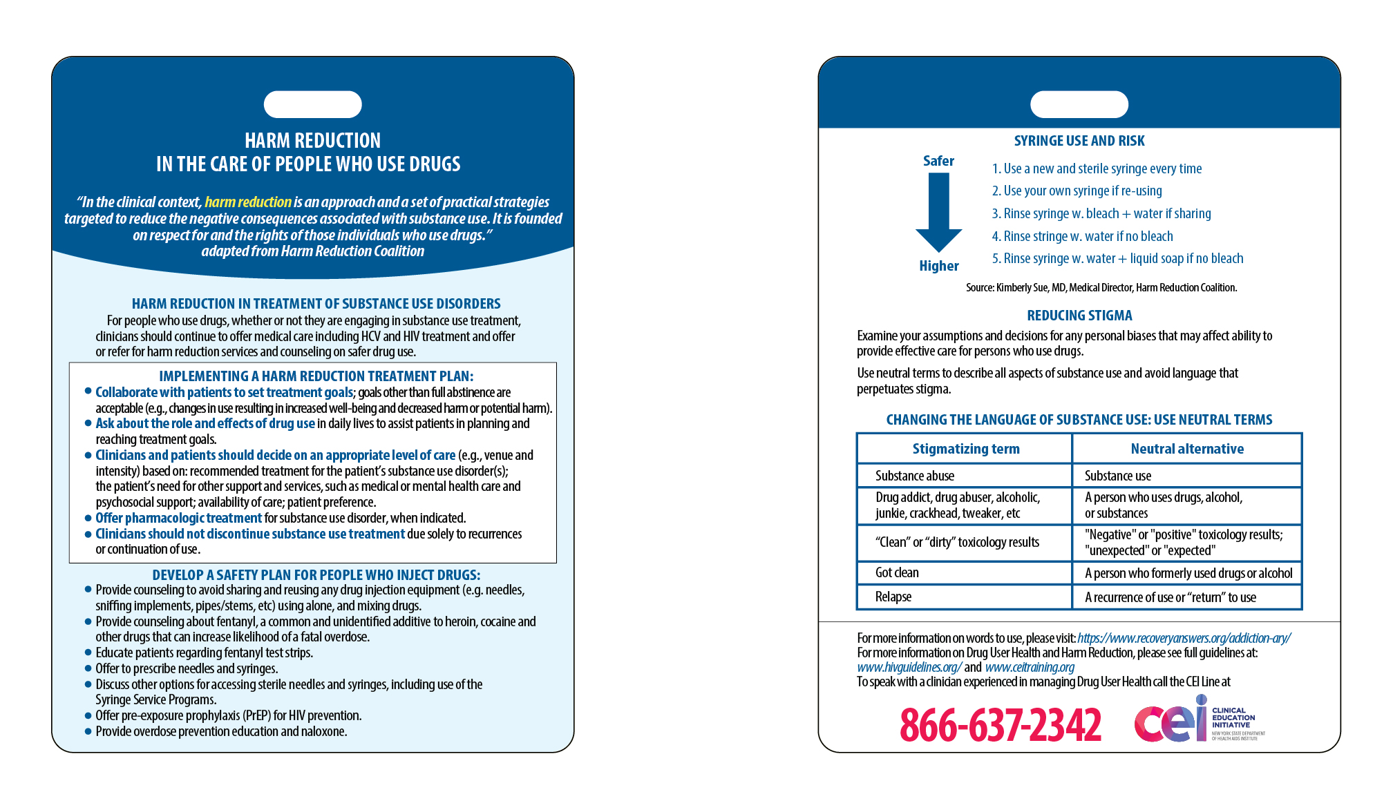 *Photo shown is front and back of the Harm Reduction Clinical Card