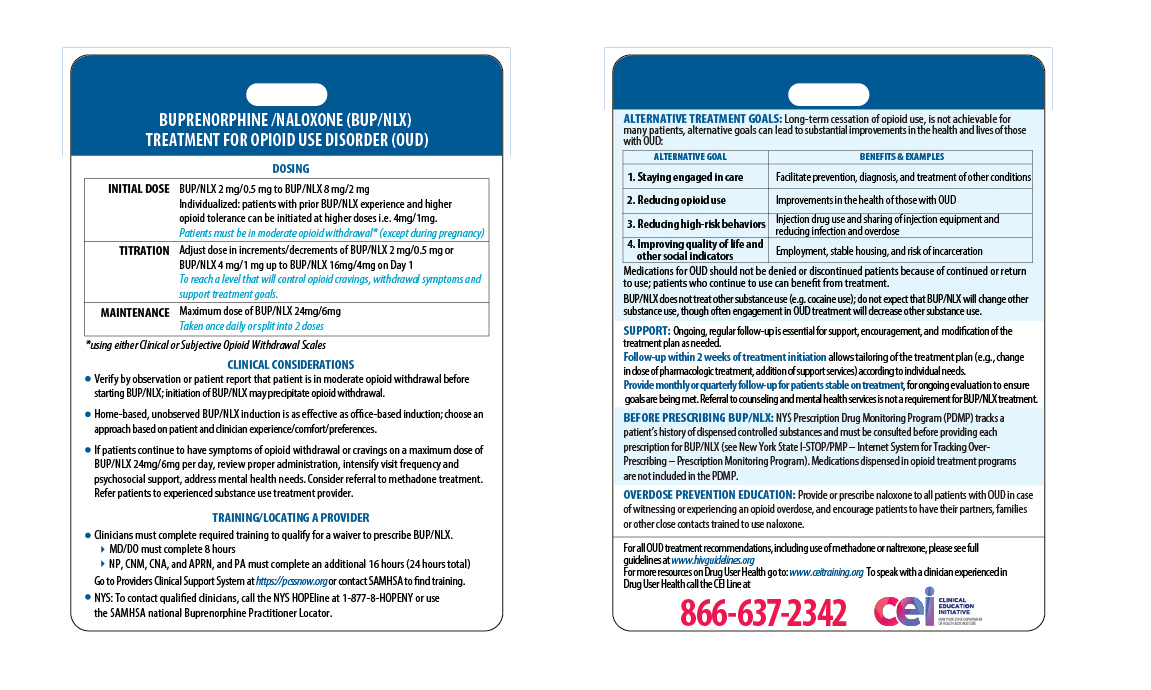*Photo shown is front and back of the Buprenorphine Clinical Card